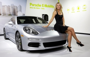 Maria Sharapova, in a very 'classic' car pose, as brand ambassador for Porsche