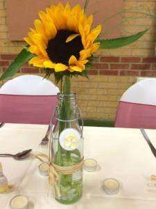 Sunflower in bottle - Miss Annie Blooms